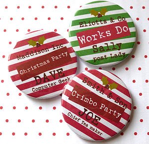 Christmas Personalised Party Badge - table decorations