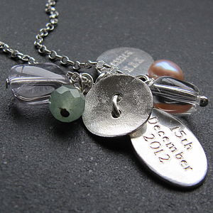 Silver Button Charm Necklace