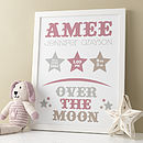 Personalised 'Over The Moon' New Baby Print