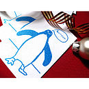 Screen Printed Penguin Wrapping Paper