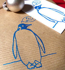 Screen Printed Penguin Wrapping Paper - ribbon & wrap