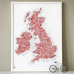 UK And Ireland Symbol Map Print - map inspired art