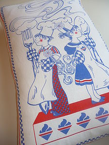Vintage Linen Kitchen Cushion/ Pillow - cushions