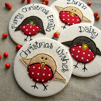 Personalised Christmas Robin Mirror