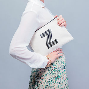 Initial Canvas Zip Pouch - make-up bags