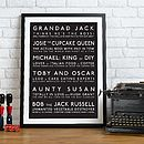 Personalised Family Characters London Bus Blind Style Print - Black & White
