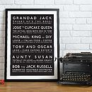 Personalised Family Mannerisms Print - Black & White