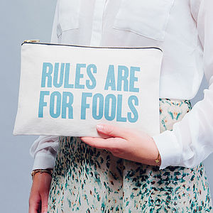 'Rules Are For Fools' Canvas Pouch - women's accessories