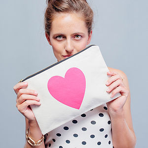 Heart Canvas Pouch - pink accessories