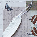 Set Of Five Porcelain Feather Decorations