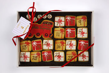 Homemade Shortbread Advent Train Biscuits