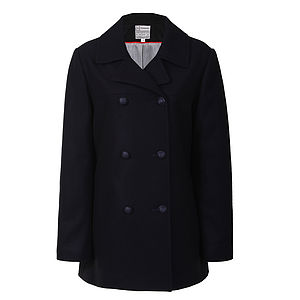 40% Off Navy Classic Wool Blend Reefer Jacket
