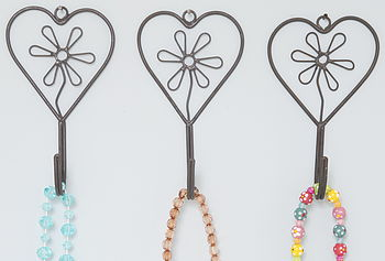 Set Of Three Metal Flower Heart Hook