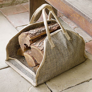 Jute Herringbone Log Carrier - storage & organisers