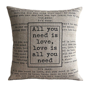 'All You Need Is Love' Cushion Cover - bedroom