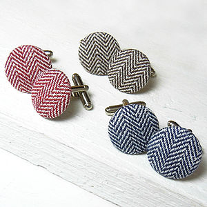 Herringbone Fabric Cufflinks - cufflinks