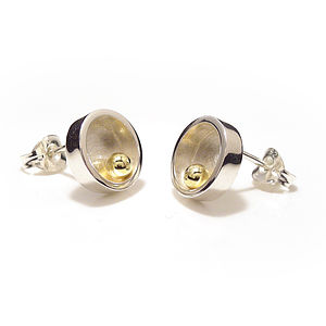 Silver With Gold Ball Closed Circle Stud Earrings