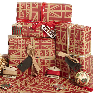 Red Union Jack Christmas Wrapping Paper Set - cards & wrap