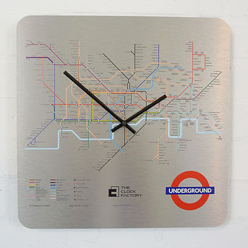 Aluminium London Underground Tube Map Clock