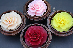 Handcarved Rose Soaps - bathroom