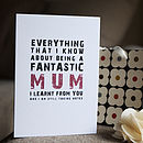 'Being A Fantastic Mum' Greetings Card