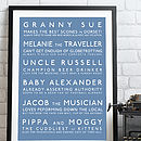 Bespoke Family Personalities Bus Blind Print - Blue & White