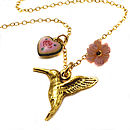 Antique Gold Hummingbird Charm Necklace