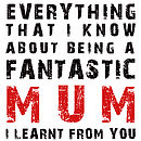 'Being A Fantastic Mum - I Learnt From You' Greetings Card