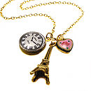 Effiel Tower Enamel Heart Necklace