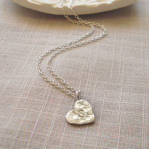 Personalised Silver Hammered Heart Necklace - baby & child