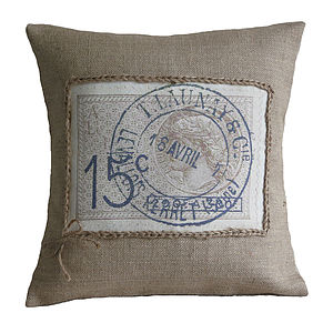 French Stamp Cushion - cushions