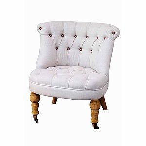 Linen Chair With Copper Buttons - furniture