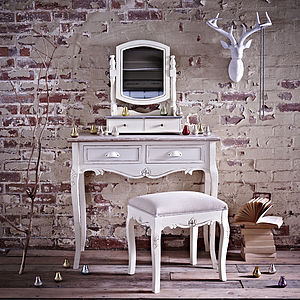 Brittany Two Drawer Dressing Table And Stool - furniture