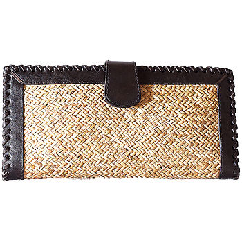 Leather And Rattan Purse