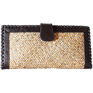 Leather And Rattan Purse - bags, purses & wallets