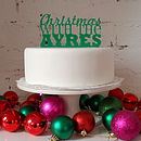 Personalised Christmas Cake Topper in Green