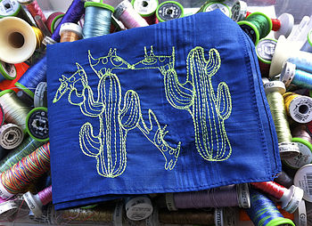 Embroidered Cacti And Dogs Art Handkerchief