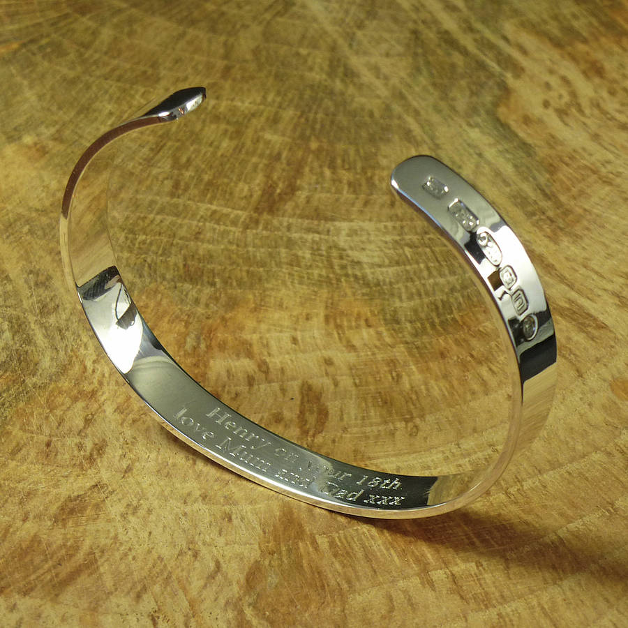 mens personalised be sterling bracelet hallmarked can bangles torque silver bangle