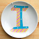 Alphabet Initial Plate Candy Stipe Theme