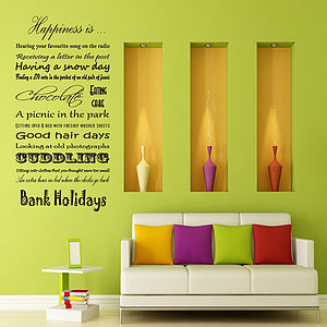 'Happiness Is …' Vinyl Wall Sticker