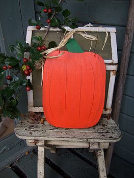 Hanging Wooden Halloween Pumpkin