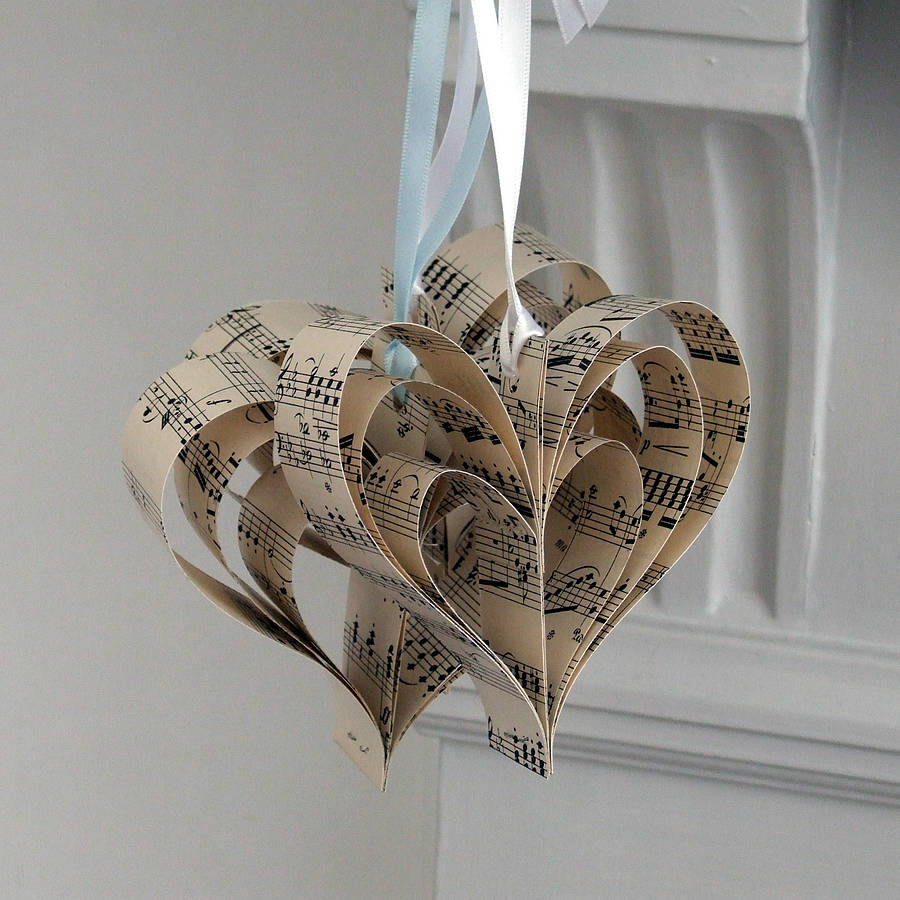 Handmade sheet music christmas decoration by made in words for Handmade things for decoration