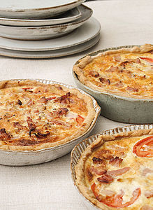 Fluted Small Ceramic Quiche Mould - tableware