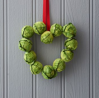 Brussel Sprout Mini Heart Wreath