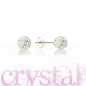 6mm Sterling Silver And Crystal Earrings - earrings