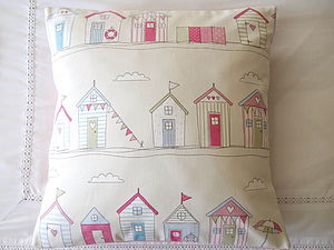 Beach Huts Cushion Cover - bedroom