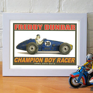 Champion Boy Racer Personalised Print - canvas prints & art for children
