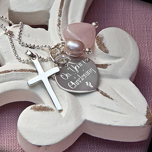 Personalised Sterling Silver Christening Necklace - flower girl jewellery