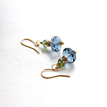 Earrings Made With Swarovski Crystals In Blue And Green