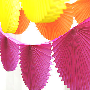 Paper Fan Garland Bunting - colour pop living room